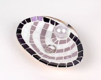 XL Sea Shell Ring Dish in Purple and White Stained Glass Tiles for Engagement Gift