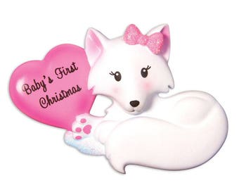 Baby Fox with Pink Heart Personalized Christmas Ornament / Baby's 1st / Baby's First Christmas / Baby Girl / Hand Personalized