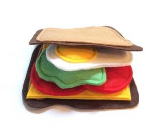 Educational Toys, Kitchen Food, Play Food Set, Toddler Toys, Pretend Play Food, Felt food Play, Felt Sandwich, Pretend Food, Creative Play