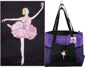 Ballerina Bag Gemline Select Zippered Tote Ballet Dancer Dancing Instructor Gift Custom Embroidered + Free Name