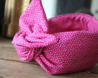 This retro - headband - bow - XL-pink polka dot headband