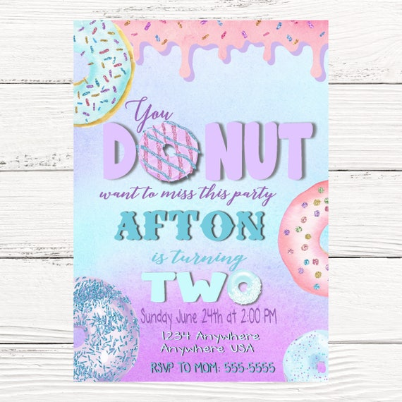 Donut birthday party invitations purple teal glitter donut il570xn filmwisefo