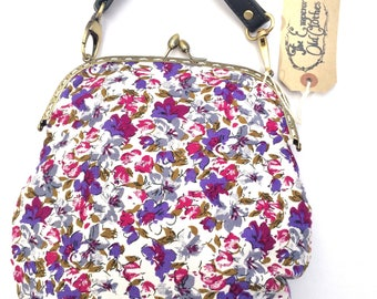 Floral Vintage Brushed Cotton Handbag with leather style strap shoulder purse crossbody cute handmade by The Emperor's Old Clothes