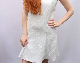 Sparkly white and silver tennis dress UK size 6-8 - white silver cotton retro style shift dress handmade by The Emperor's Old Clothes
