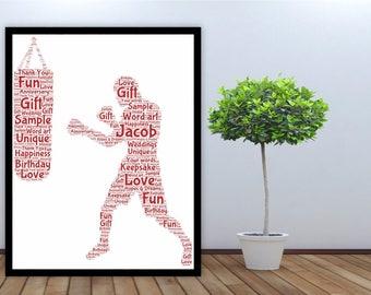 Regalo del arte de palabra personalizada enmarcada hombre de boxeo, boxeador, luchador, saco de arena, amante del deporte, regalo para él, hermano, tío, hijo,