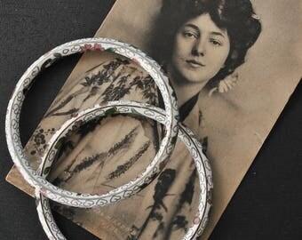 Vintage White Cloisonne Bracelets