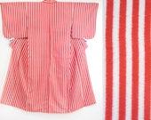 Red white striped silk ki...