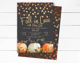 Fall in Love Baby Shower Invitation, Rustic, Fall Invitation, Fall Baby Shower, Autumn Invite, Falling in Love, Printable or Printed