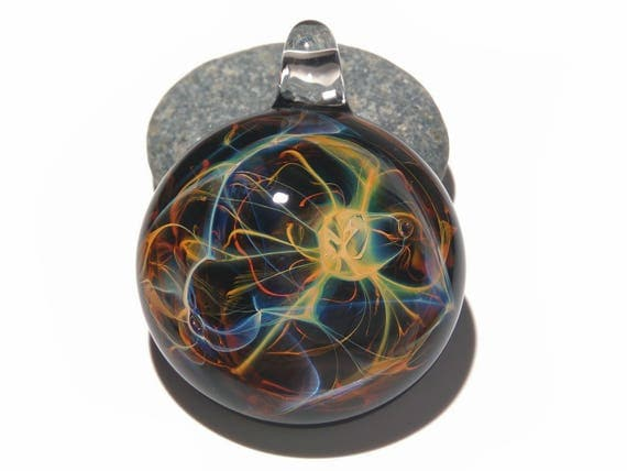 Sacred Power Pendant - Blown Glass Jewelry - Universe - Flameworked Focal Bead - Free Shipping - Artist Direct - Vibrant and glossy smooth!