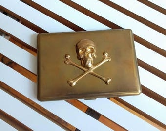 skeleton skull and crossbones cigarette case (or wallet)