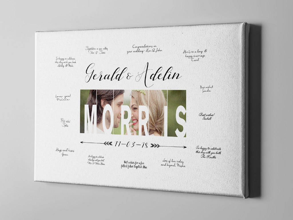 Sale 50% off canvas photo guest book last name signature guestbook
