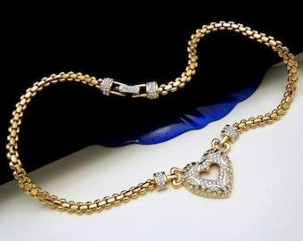Vintage Swarovski Pave Set Rhinestone Heart Necklace Gold Tone Choker