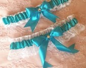 Turquoise & White Lace Wedding Garter Belt Set w/ Rhinestone -- Teal Marine Blue Pool Aquamarine
