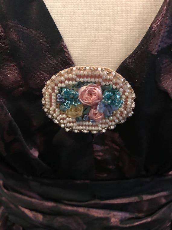 Vintage Americana Craft Handmade Bead & Ribbon Needlepoint Brooch