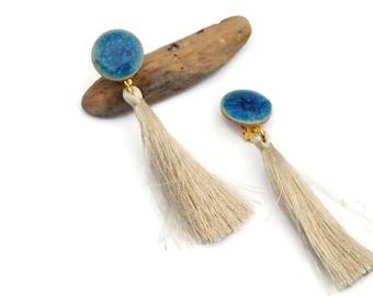 Ivory tassel earrings, Clip on earrings, Fringe earrings, Wedding tassel earrings, Long earrigns, Boho jewels, Boho wedding, Gift for her U6