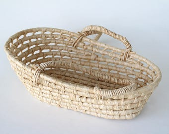 Small Vintage Palm Moses Basket Bassinet