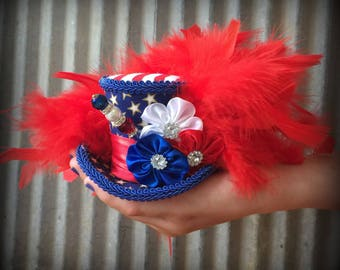 July 4th Mini Top Hat, Patriotic hat, Red white and Blue, Alice in Wonderland, Mad hatter hat, Fireworks Mini Top hat, Mad Tea Party hat
