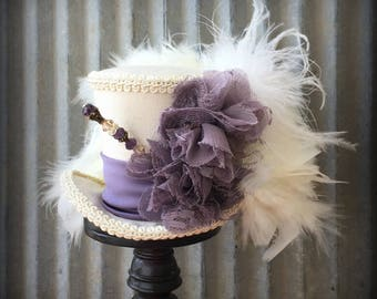 Mini Top Hat, Cream and Dusty Purple Mini Top Hat, Alice in Wonderland, Mad Hatter Hat, Mad Tea Party Hat, Wedding Hat, Bridal Shower hat