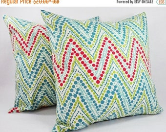 15% OFF SALE Teal Chevron Pillow Covers - 2 Pillow Covers in Coral and Teal - Coral Throw Pillows - Teal Coral Pillow Cover - Coral Throw Pi