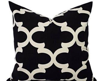15% OFF SALE Black Pillow Covers - Two Black Quatrefoil Decorative Pillows - Moroccan Tile Pillow Cover - Accent Pillow - Black and Cream Pi