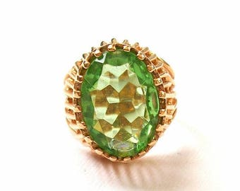 ON SALE Vintage Ring HUGE 14K Gold Plated Light Green Sparkling Gold Tone Multi Faceted Ring Size 9 Ring