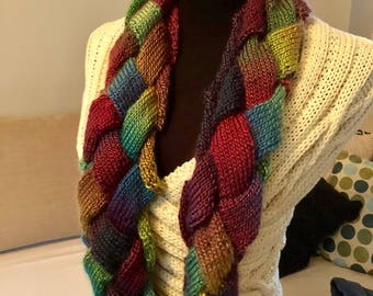Entrelac knit cowl in stained glass