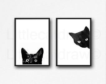 Black Cat Print Set Of 2 Black Cat Art Prints Cat Art Wall Decor Cat Lover Gift Minimalist Living Room Decor Wall Art Print Watercolor Print
