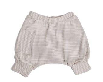 Toddler Boy Shorts / Toddler Girl Shorts - Toddler Boy Clothes, Toddler Clothes, Kids Clothes ,Toddler Harem Shorts - Striped Beige