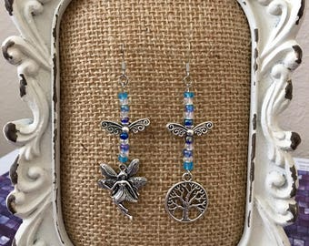 Antique Silver Metal Fairy Tree of Life Beaded Earrings