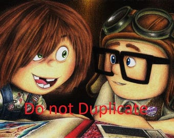 Young Carl and Ellie 11x 17 colored pencil drawing print