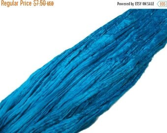 SALE 1 oz Mulberry Silk roving, hand dyed , color Turquoise