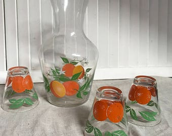 Orange Juice Carafe and 3 Juice Glasses, 1950s Design, Oranges and leaves and flower Motif