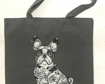 Tote bag Tattoo Dog grey