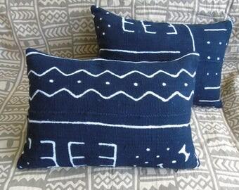 "One Pair ~ African Black Mudcloth Pillow 18"" x 13"" African mudcloth bogolanfini accent pillows Handmade Artisan"