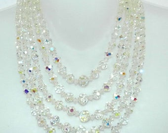 PRIME DEALS Laguna Crystal Bead Necklace Earrings. Laguna AB Crystal Necklace Earrings 5 Strand Laguna Necklace, Vintage Jewelry Jewellery