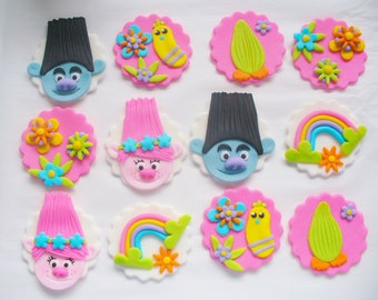 12 TROLLS Theme Edible Fondant Cupcake Toppers Poppy Branch