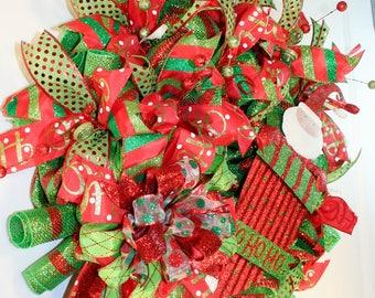 Large Front door Wreath, Christmas wreath, Santa Wreath, Best Door Wreath, Holiday Wreath, Red XMas Decor, Christmas Wreath, XMas Holiday