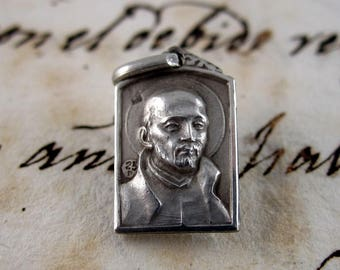 Tiny Saint Ignatius of Loyola Elegant Medal-  Silver 750 - Spain - Catholic Religious