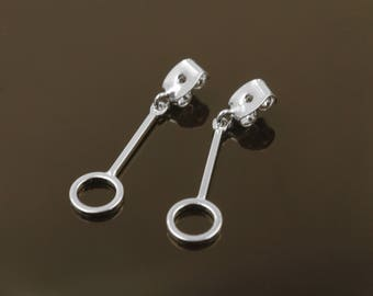Dangle ring earring back, S86-R9, Nickel free, 2 pcs, 30x7mm, 1mm thick, Original rhodium plated brass,  Earring back, Earring making