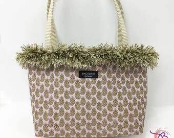 lavender BAGOLITA tote with tiny paisley pattern