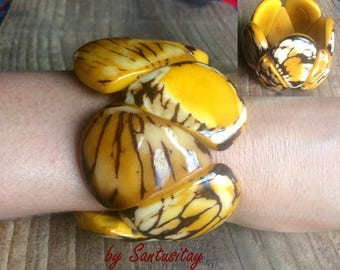 Tagua seeds bracelet  beads natural jewelry yellow red navy blue brown hand crafted gift