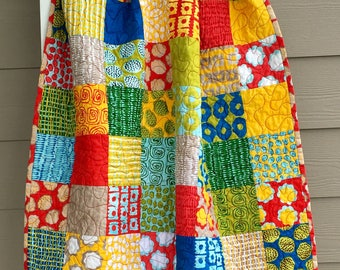Ready To Ship baby quilt, modern crib Quilt, Throw Quilt, red, green, yellow, blue, grey, white modern handmade quilt, modern lap quilt
