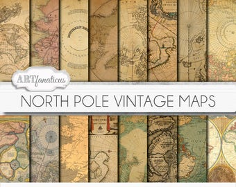 "Vintage north pole maps digital paper, ""North Pole Vintage Maps"" Travel,antique maps, old world, globe, santa, maps, christmas, scrapbooking"