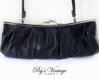 Vintage Giannini Black Leather Handbag Purse, Women's Fashion Clutch Bag
