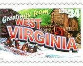10 Greetings from West Virginia Postage Stamps // White Water Rafting Adventure // 34 Cent Stamps for Mailing
