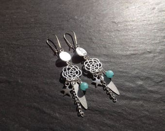 """Arial"" blue agate earrings"