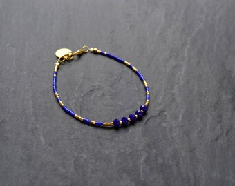 Bracelet in miyuki beads and Crystal cobalt blue and gold, gold sequin
