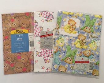 Vintage American Greetings Gift Wrapping Paper Bears Baby Lot of 3 Packages NOS