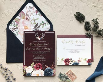 Rustic Navy and Burgundy Wedding Invitations