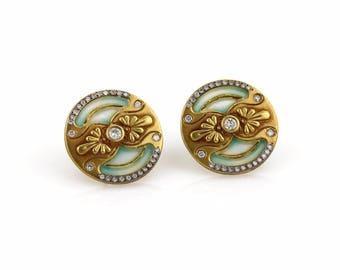 18923 - Antique Plique a Jour Enamel Diamond Round Stud 18k Yellow Gold Round Stud Earrings